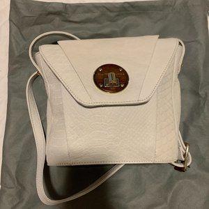 Elliot Lucca Cream Snakeskin Crossbody Bag